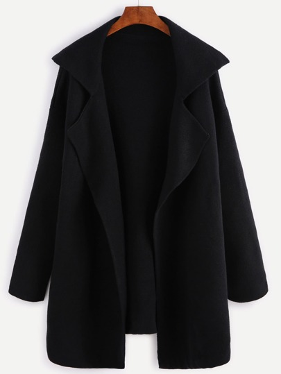 e5800a70f98 Black Notch Collar Open Front Sweater Coat