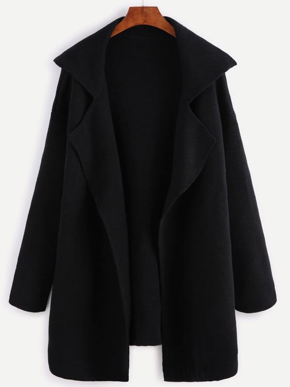 a0343f3a656f Black Notch Collar Open Front Sweater Coat