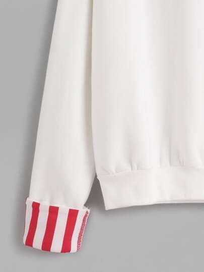 Sweat shirt poignet contrast avec broderie blanc for Poignet de porte en anglais