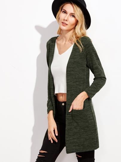 Cardigan long manche longue avec poches - vert foncé