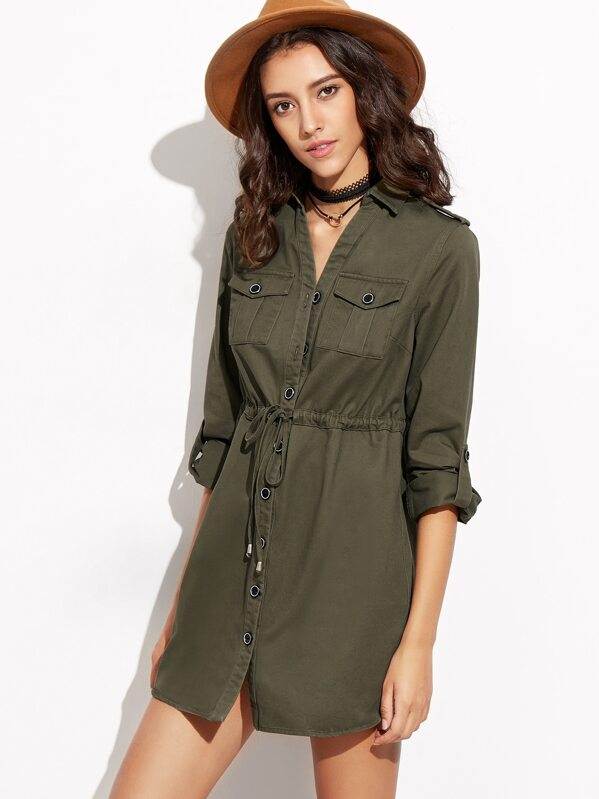 386ae08b0218 Army Green Drawstring Shirt Dress With Pockets