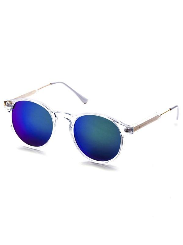 Clear Frame Green Mirrored Sunglasses -SheIn(Sheinside)