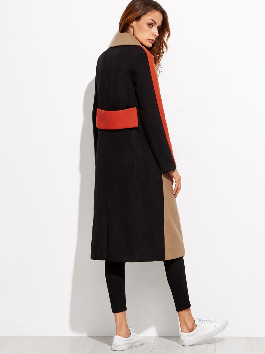 dedc672725 Colorblock Double Breasted Coat | SHEIN