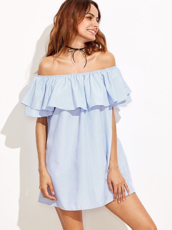 eac19195c1 Vertical Striped Layered Flounce Off Shoulder Dress | SHEIN