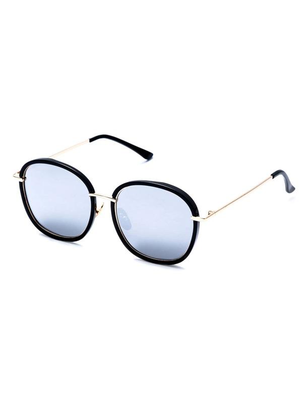 25d8a79ffc Black Frame Large Lens Gold Arm Sunglasses -SHEIN(SHEINSIDE)