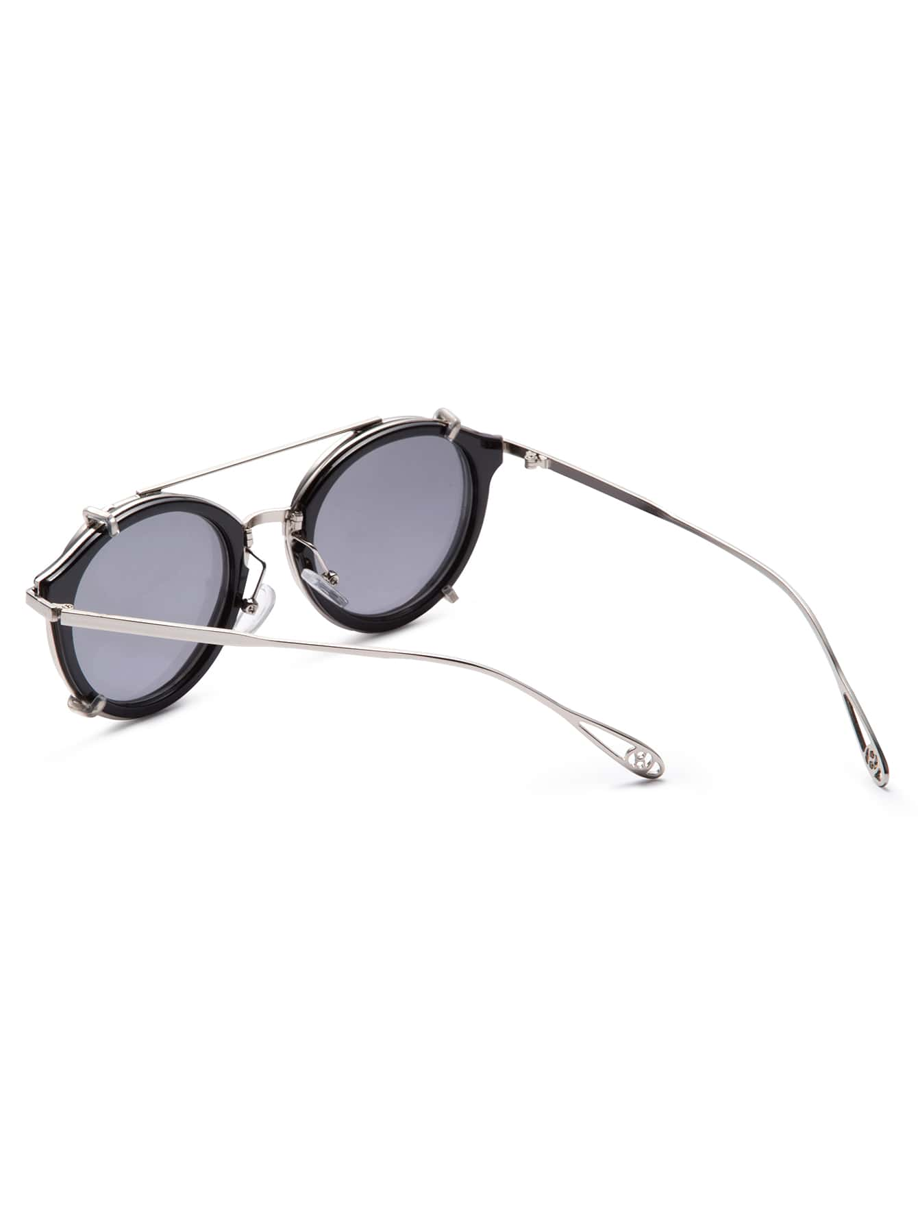 Black Metal Frame Glasses : Black Metal Frame Double Bridge Sunglasses -SheIn(Sheinside)