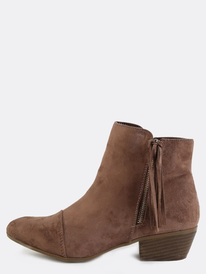Stitched Tassel Ankle Booties TAUPE