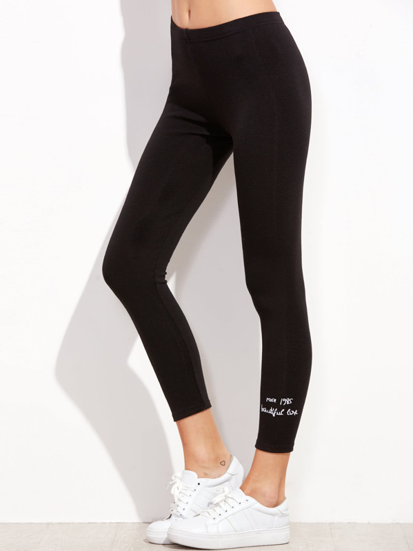 9bf1b9501fc5 Slogan Embroidered Cuff Leggings | SHEIN