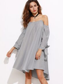 5d6f909ffc Black And White Striped Tie Sleeve Off The Shoulder Dress -SHEIN(SHEINSIDE)