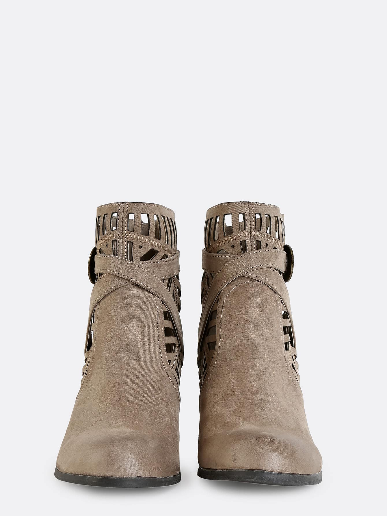 tribal cut out suede boots taupe shein sheinside