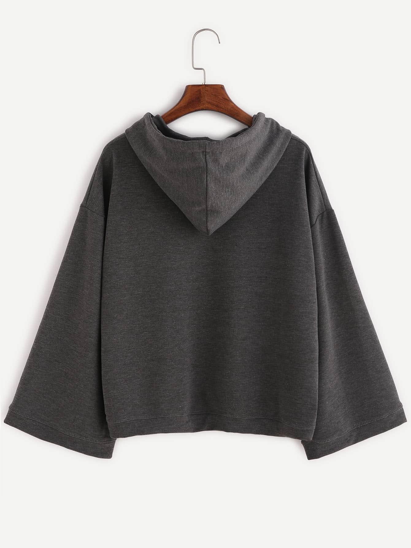 Dark Grey Coffee Cup Print Hooded Sweatshirt