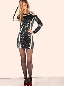 Sleeved Cold Shoulder Sequin Dress BLACK NUDE pictures