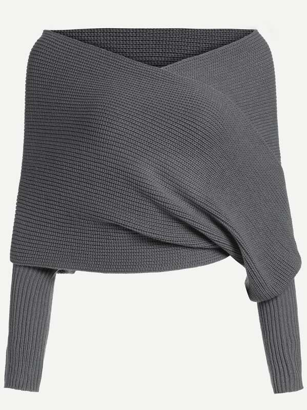 34d414fcd00 Dark Grey Off The Shoulder Sweater