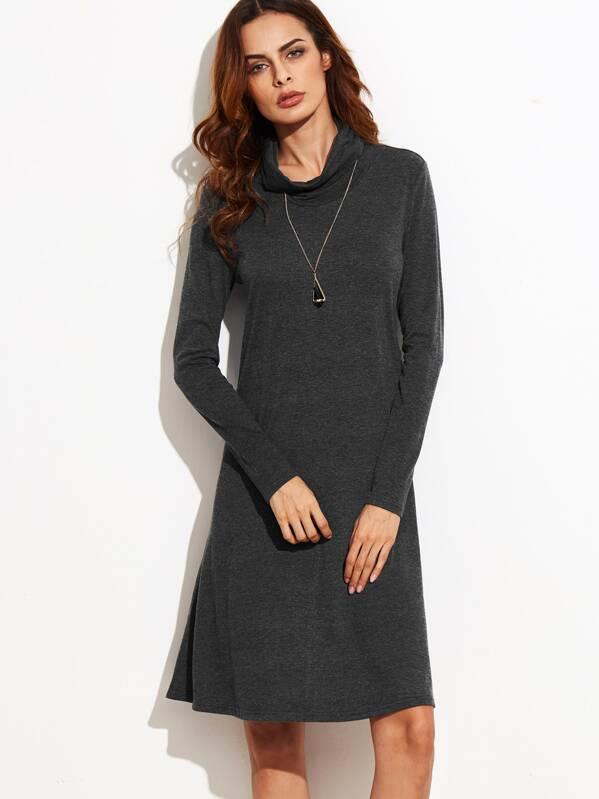 8a48e82630 Dark Grey Funnel Neck Long Sleeve Shift Dress -SheIn(Sheinside)