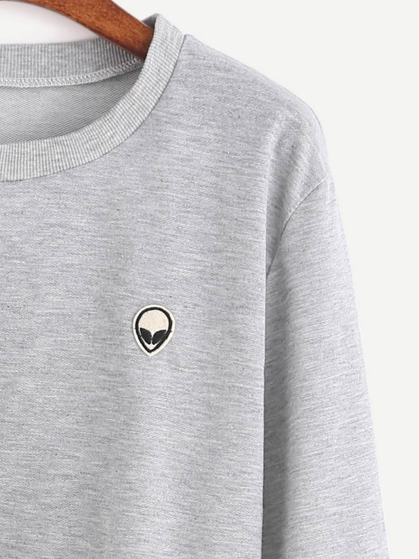 c195e960e03 Grey Alien Embroidered Patch Crop Sweatshirt