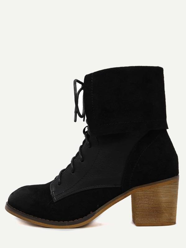 2fffb36b86 Black Faux Suede Lace Up Cork Heel Short Boots -SheIn(Sheinside)