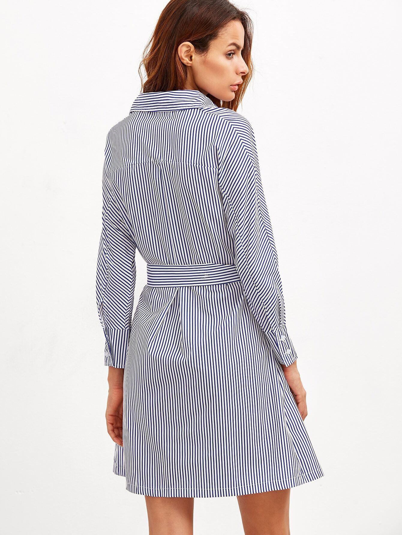 Vertical striped buttons shirt dress with belt shein for Vertical striped dress shirt