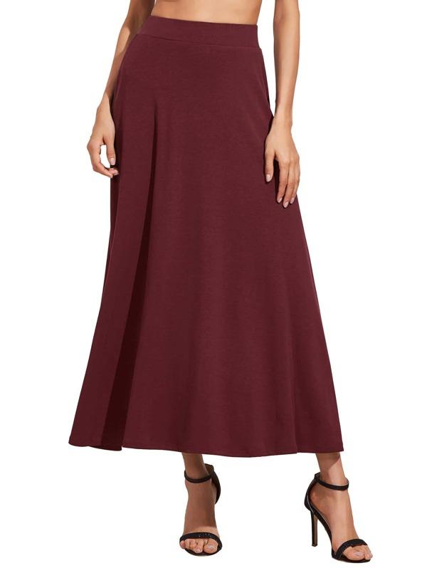 781eb608fd Cheap Wine Red High Waist Long Skirt for sale Australia   SHEIN