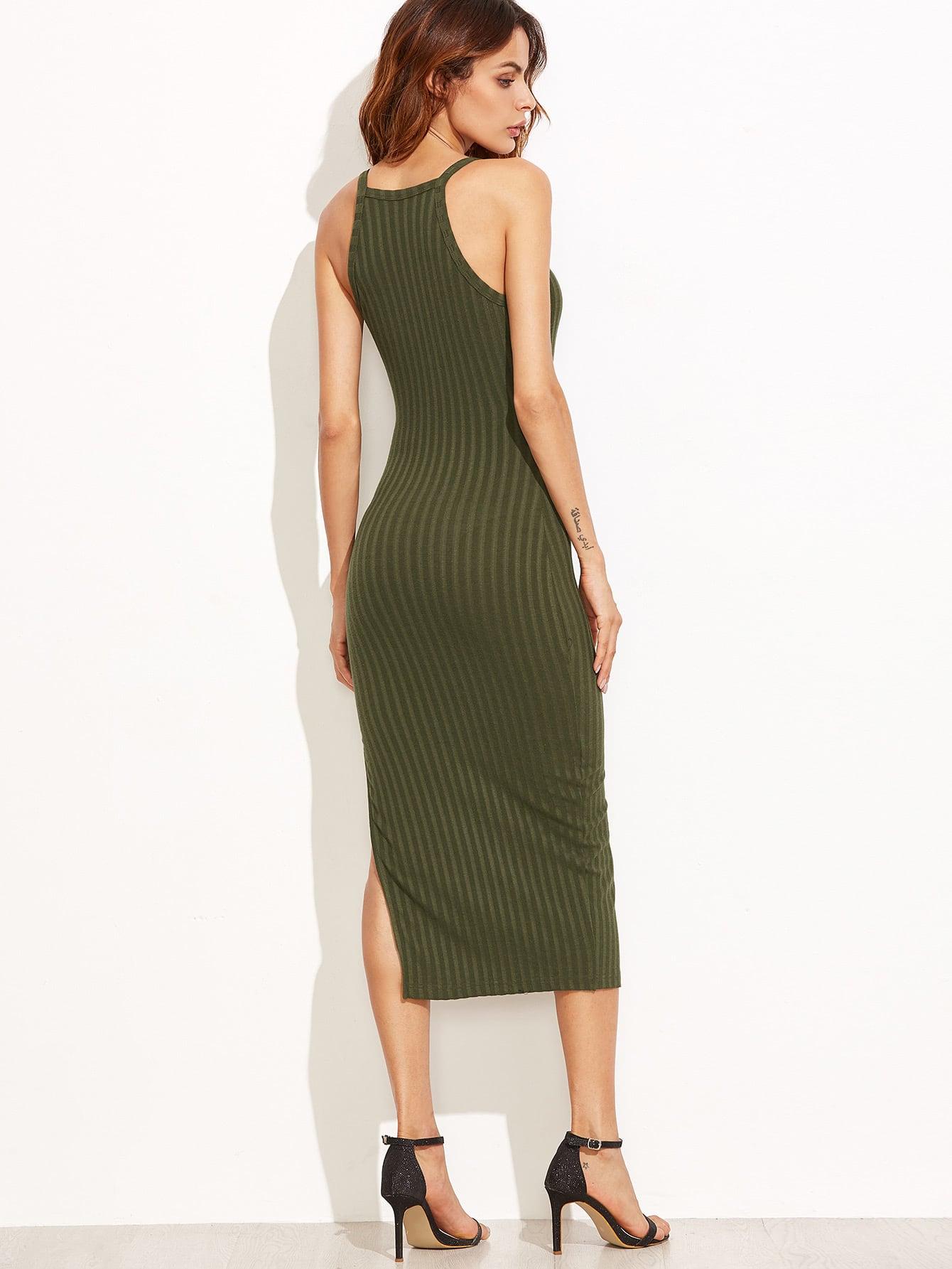 Olive Green Side Slit Ribbed Cami Dress