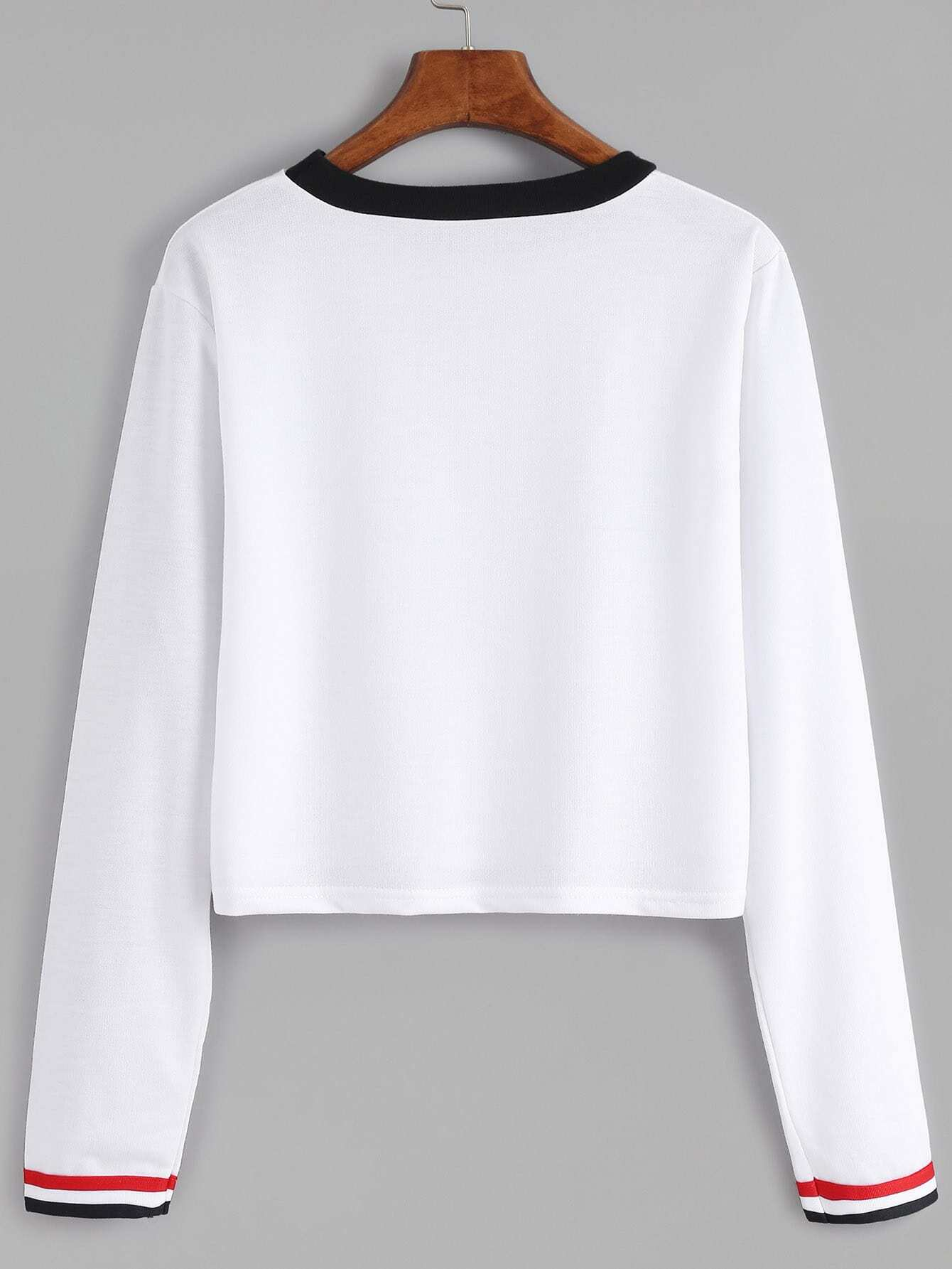 White Contrast Striped Long Sleeve T-shirt
