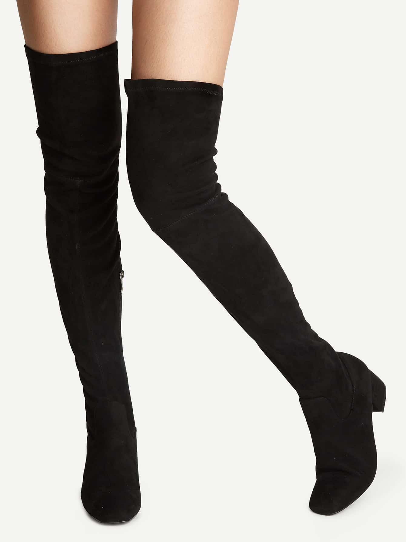 black knee high chunky heel boots shein sheinside