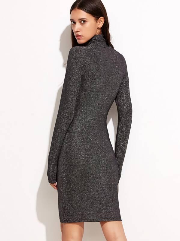Shiny Black High Neck Long Sleeve Dress Sheinsheinside