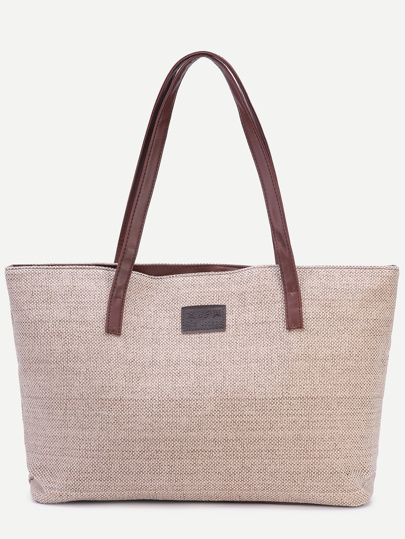 Light Khaki Zip Closure Linen Tote Bag 69b25bb26a588