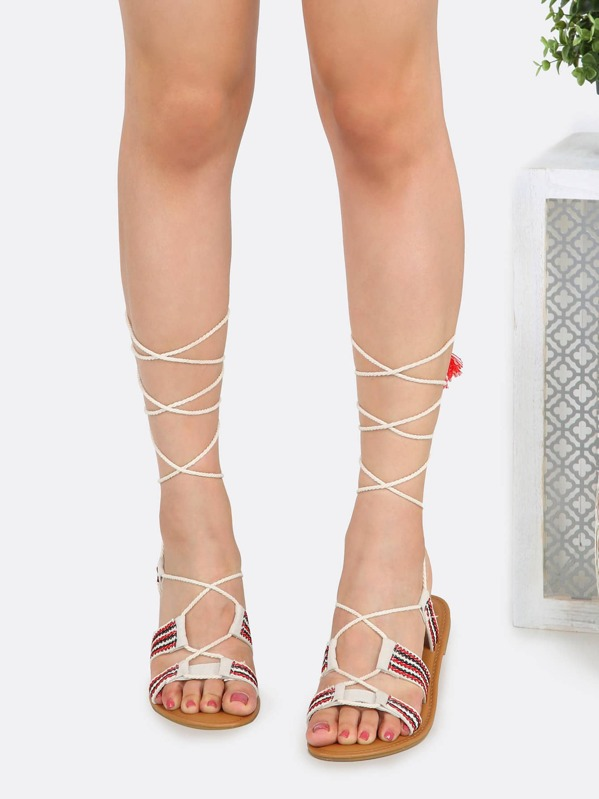 51ddafc792a Embroidered Lace Up Gladiator Sandals IVORY -SHEIN(SHEINSIDE)