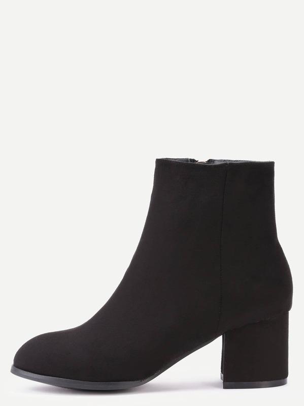 969952db403 Black Suede Side Zipper Chunky Heel Short Boots