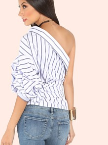 baccb87be5f2e8 Striped One Shoulder Wrap Around Button Down Top | SHEIN