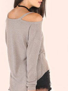 Waffle Knit Cold Shoulder T-shirt pictures