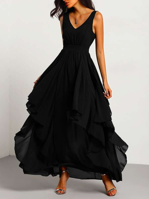 7b9bceddc948 Black Deep V Neck Layered Chiffon Dress | SHEIN UK