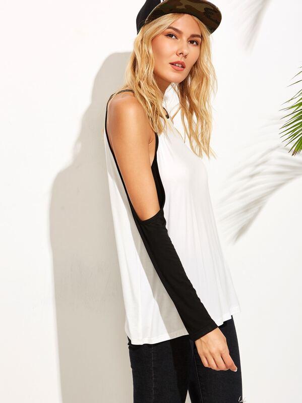 6ebdfc3f19829 White Contrast Raglan Sleeve Cold Shoulder T-shirt