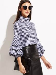 Gingham Cutout High Neck Billow Sleeve Blouse pictures