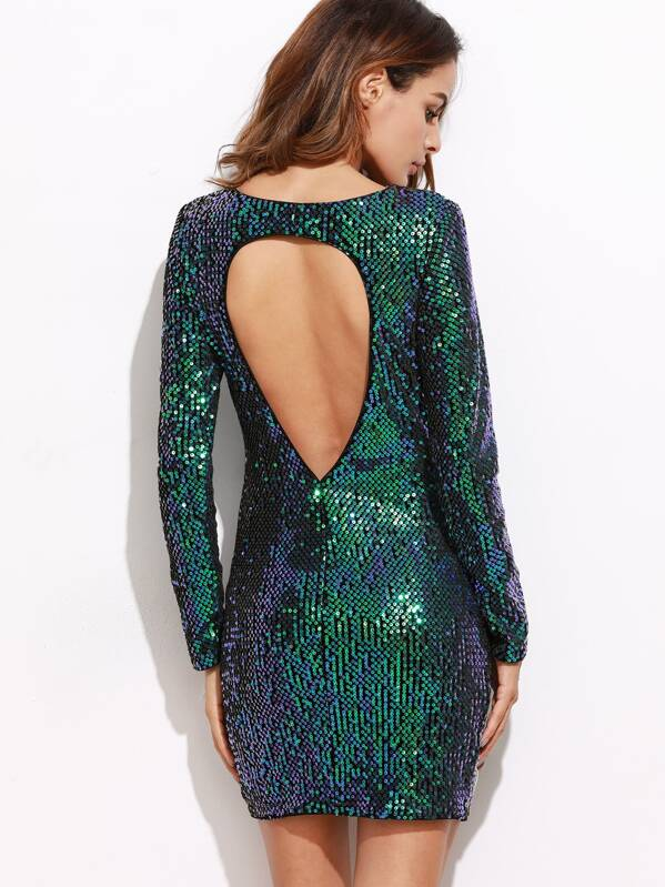 a1992828094b Iridescent Green Open Back Sequin Bodycon Dress
