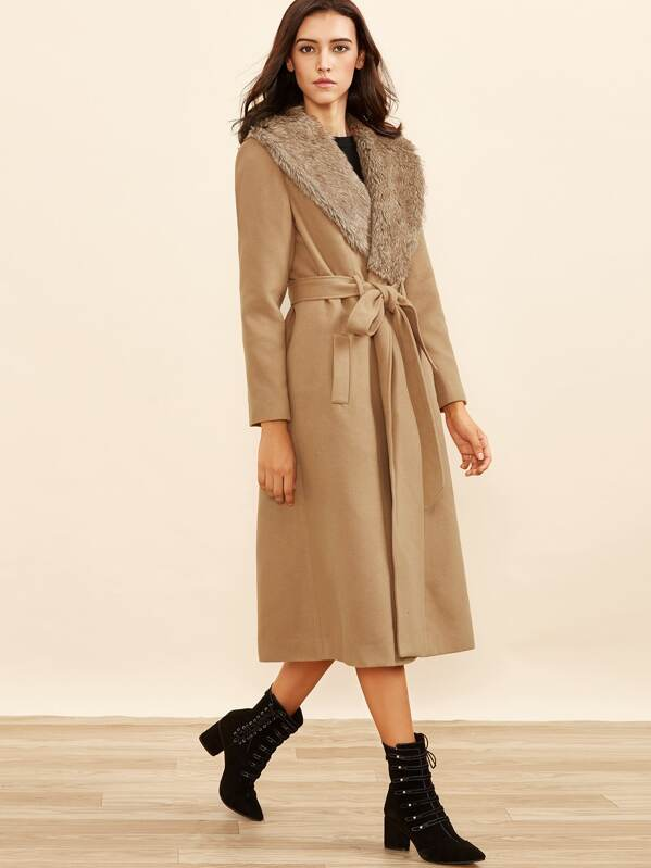 00c6f457e5718 Camel Faux Fur Collar Wrap Coat