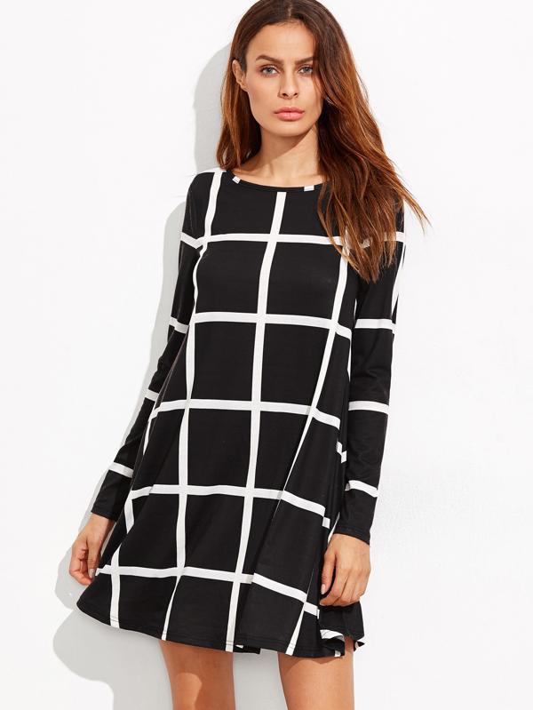 Swing Kleid mit Gitter langarm -schwarz - German SheIn(Sheinside)