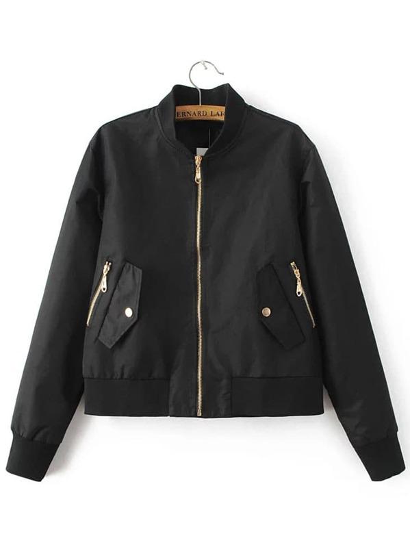 f98f7d50f6a7 Veste aviateur zippé avec poches - noir-French SheIn(Sheinside)