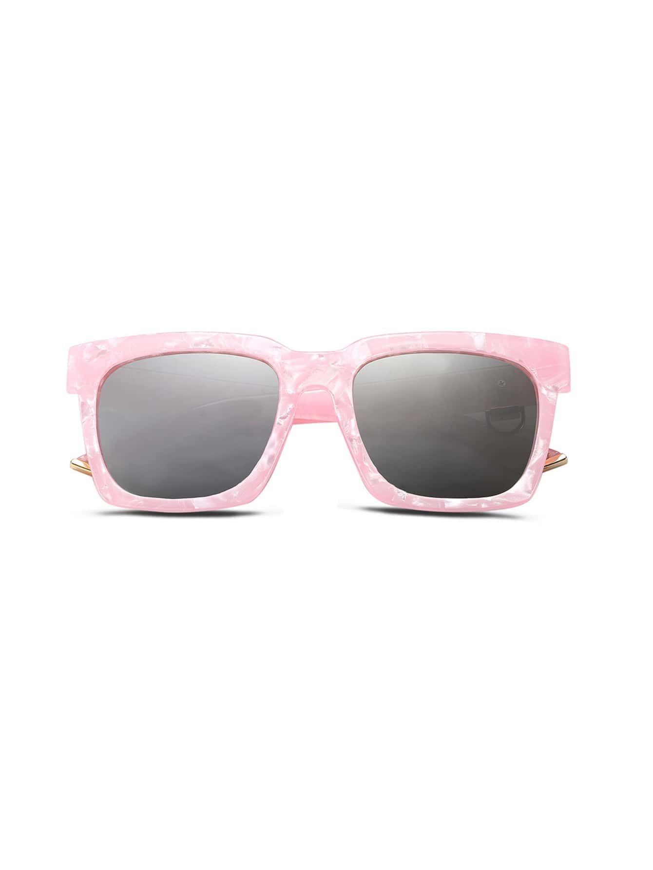 Pink Frame Gold Trim Sunglasses -SheIn(Sheinside)