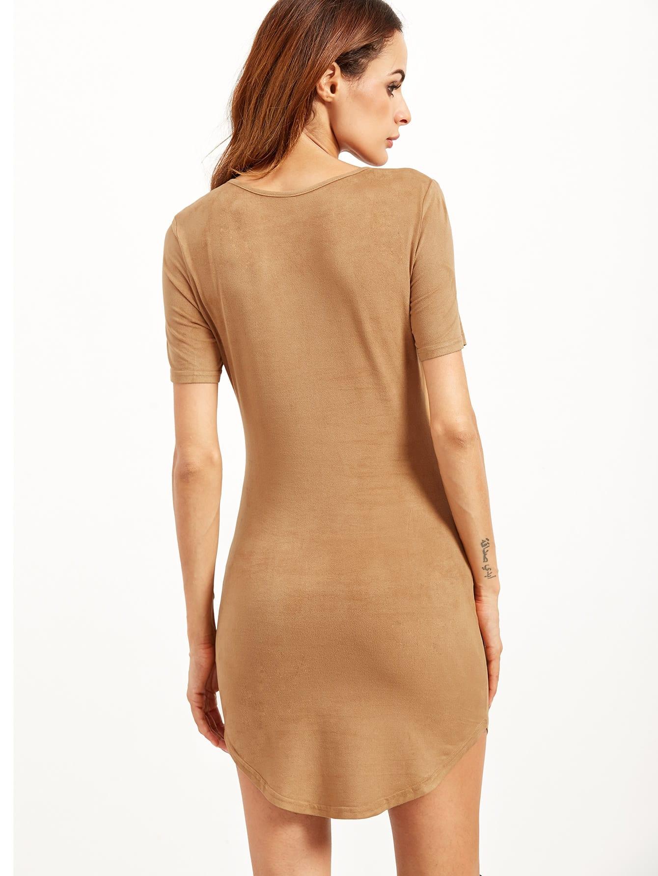 Curved Hem Bodycon Dress Shein