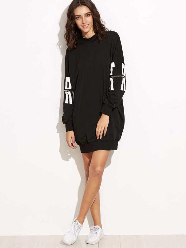 e6e66df076a9d3 Sweatshirt Kleid mit Reißverschlusses Buchstaben Druck -schwarz | SHEIN