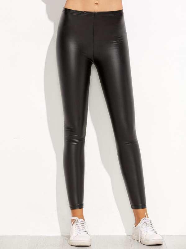 Leggings élastique en cuir PU - noir -French SheIn(Sheinside) 56ce626f585
