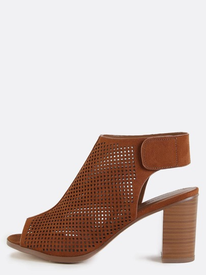 Stacked Heel Preforated Ankle Boots COGNAC