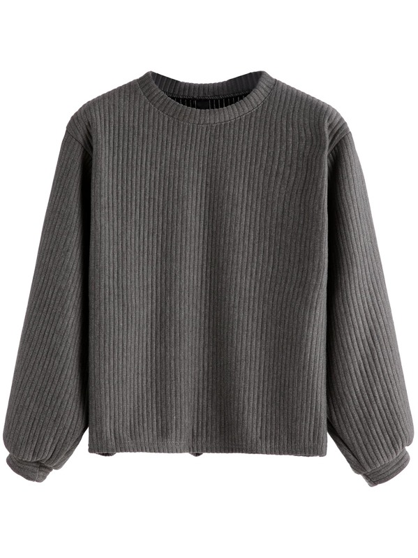 Ribbed Knit Sweatshirt, Grey