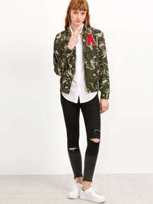 2aba2577c Olive Green Camo Print Bomber Jacket With Patch -SheIn(Sheinside)