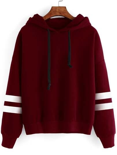 Cut-Outs Sweatshirt mit Kapuzem Baseball Streiftem -burgund rot