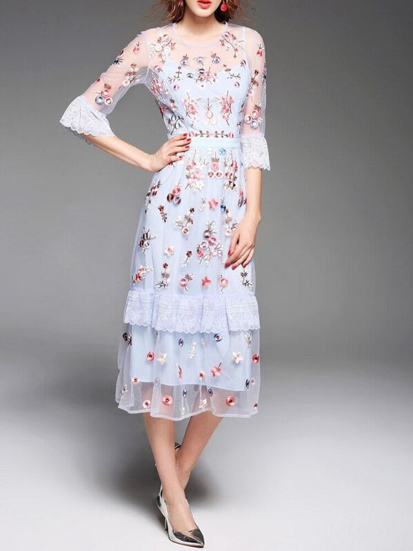 22810f62eb Cheap Blue Sheer Flowers Gauze Embroidered Long Dress for sale Australia |  SHEIN