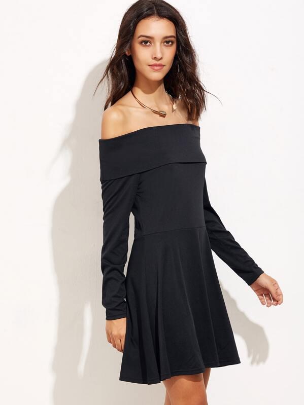 af0768eafa Black Off The Shoulder A-Line Dress -SHEIN(SHEINSIDE)