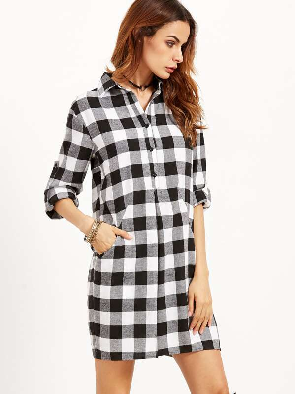 f057b14fc031 Cheap Checkered Roll Tab Sleeve Shirt Dress for sale Australia | SHEIN