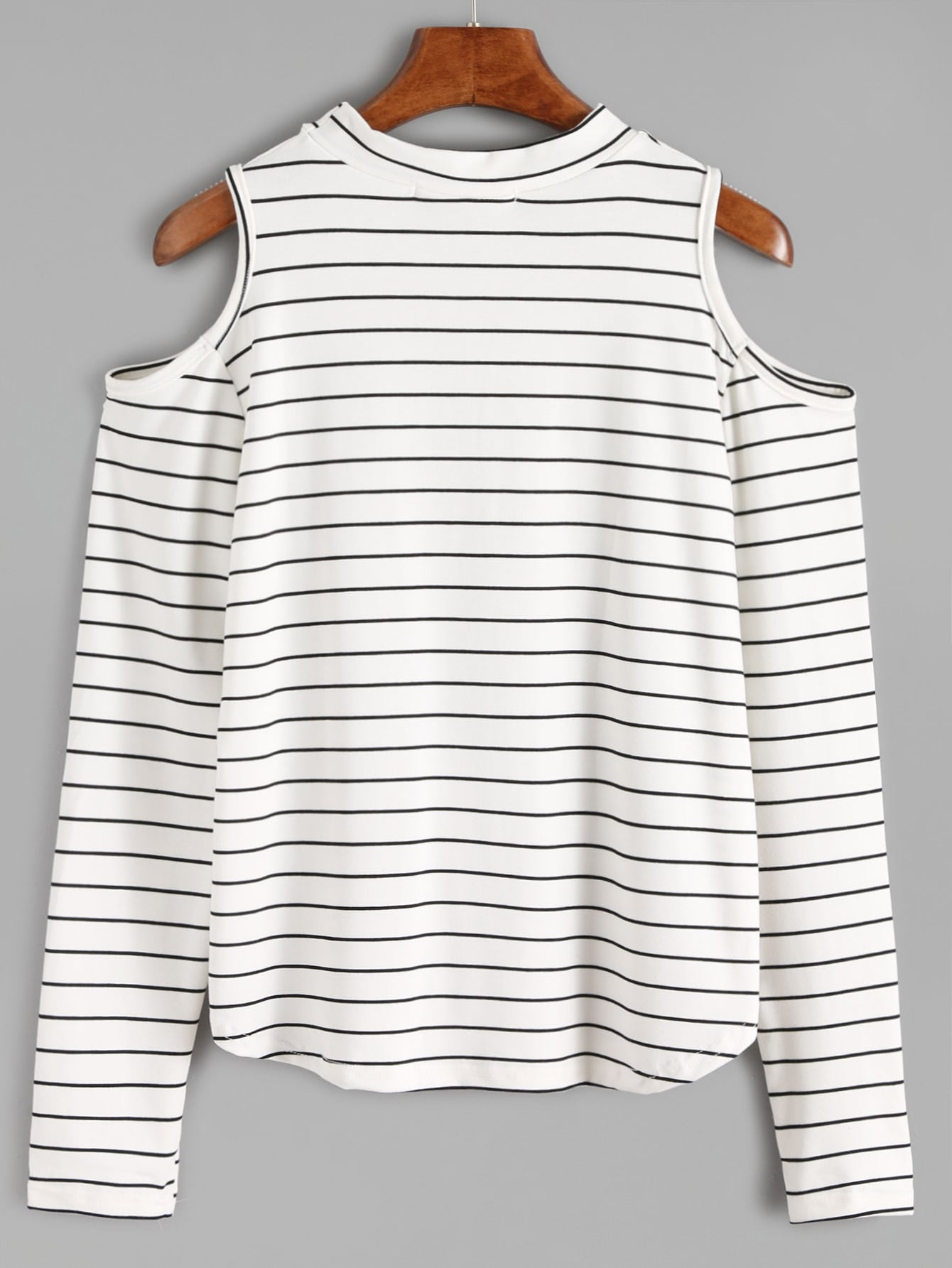 White open shoulder striped long sleeve t shirt shein for Long sleeve open shirt